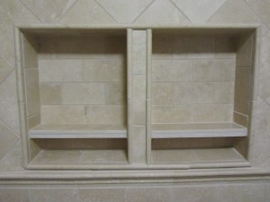 The new shower shelves